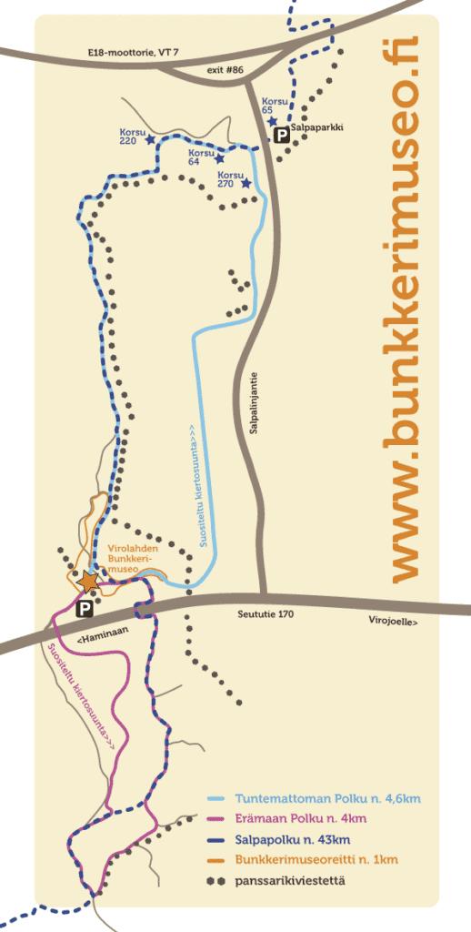 Bunkkerimuseoalueen luontopolkujen kartta